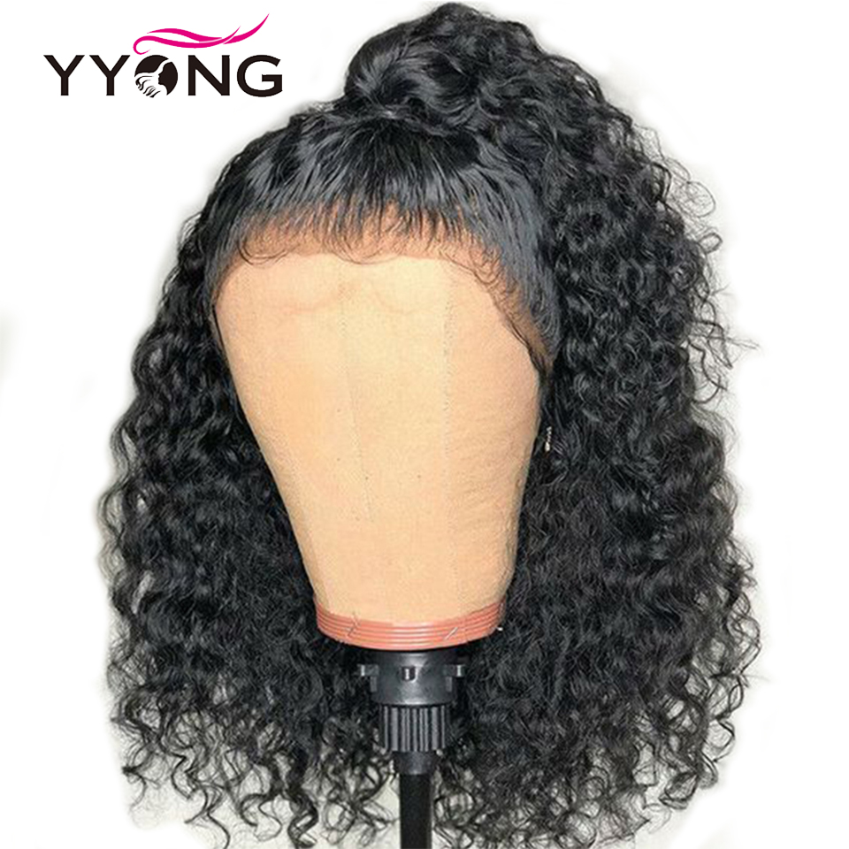 YYONG 13x4 Lace Front Human Hair Wigs Brazilian Deep Wave Human Hair Short Bob Wig With Pre Plucked Hairline 120% Density Wig