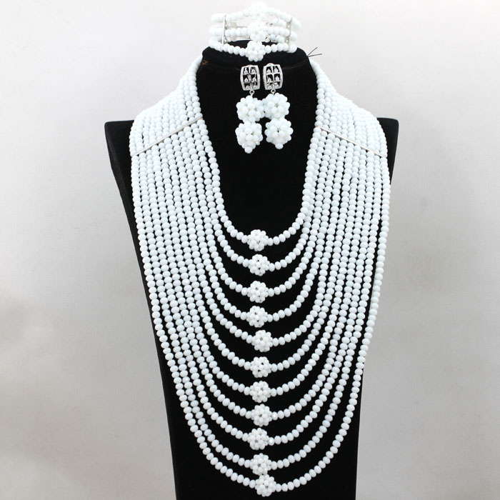 Charming White African Wedding Bridal Beads Jewelry Set Nigerian Clelebration Necklace Earrings Bracelet Jewelry Set QW338 fashion white crystal beads necklace earrings bracelet nigerian wedding beads african jewelry set for women ddk014