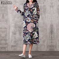 Women Vintage Print Dress 2017 Spring Autumn Ladies Vintage O Neck Long Sleeve Casual Loose Mid