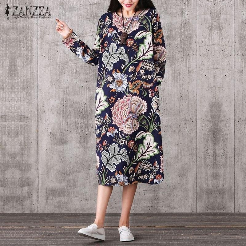 Mujeres vintage print dress 2017 señoras del otoño del resorte de la vendimia o