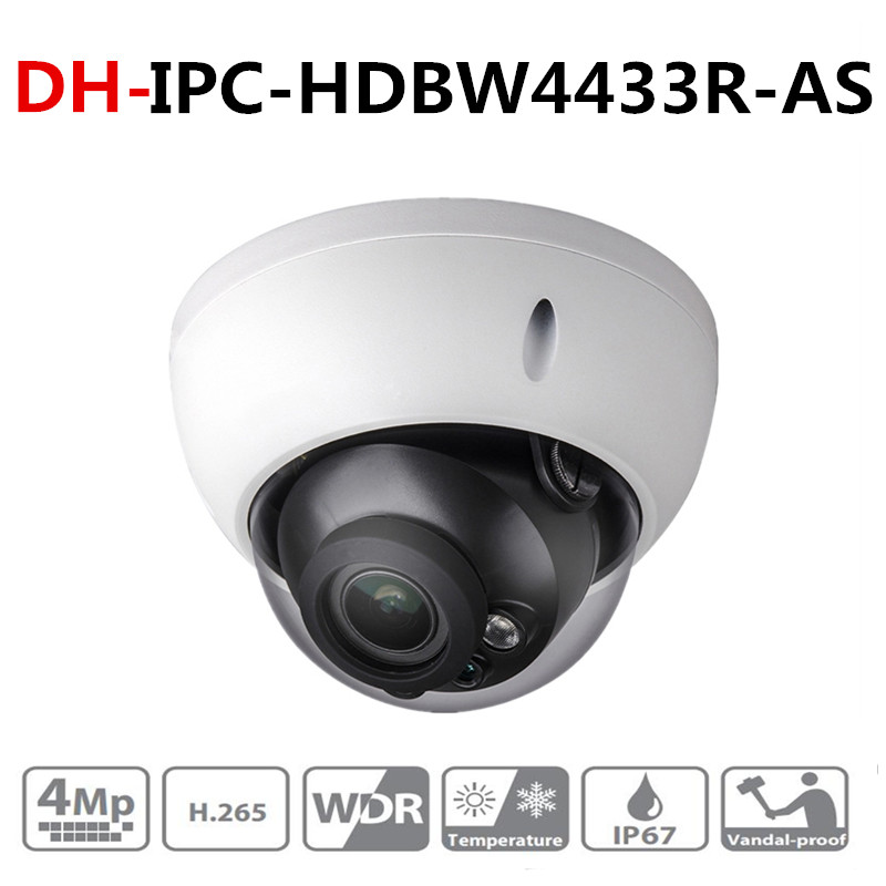 DH IPC-HDBW4433R-AS 4MP CCTV IP Camera Support IK10 IP67 Audio in/out &Alarm Port PoE Camera IR 30m WDR Security with Dahua logo