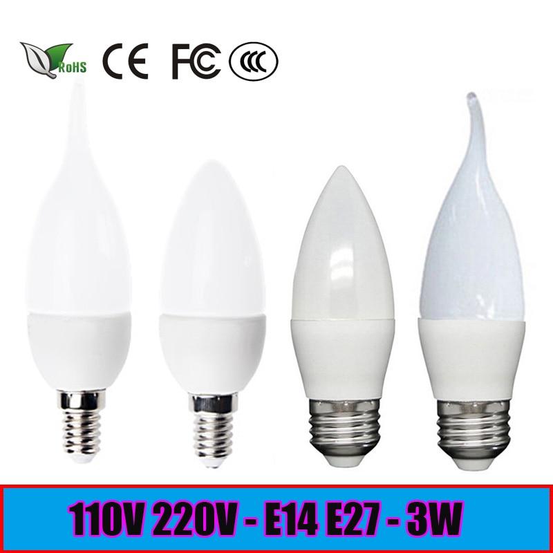 LED Candle Lights 2835SMD Candle Bulb Lamp High Brightness 3W E27 E14 AC220V 110V Cold White / Warm White Led Bulb Lamp