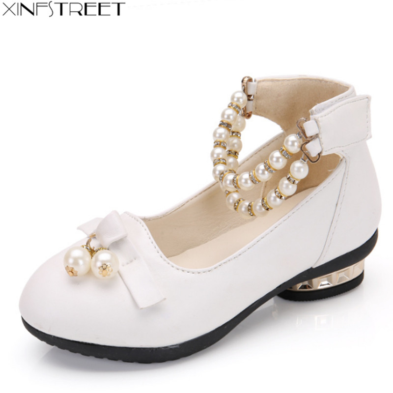 Xinfstreet Kids Girls Shoes Princess Nice Pearl Zapatos para niños con tacones Party Girls Shoes Leather Tamaño 27-37