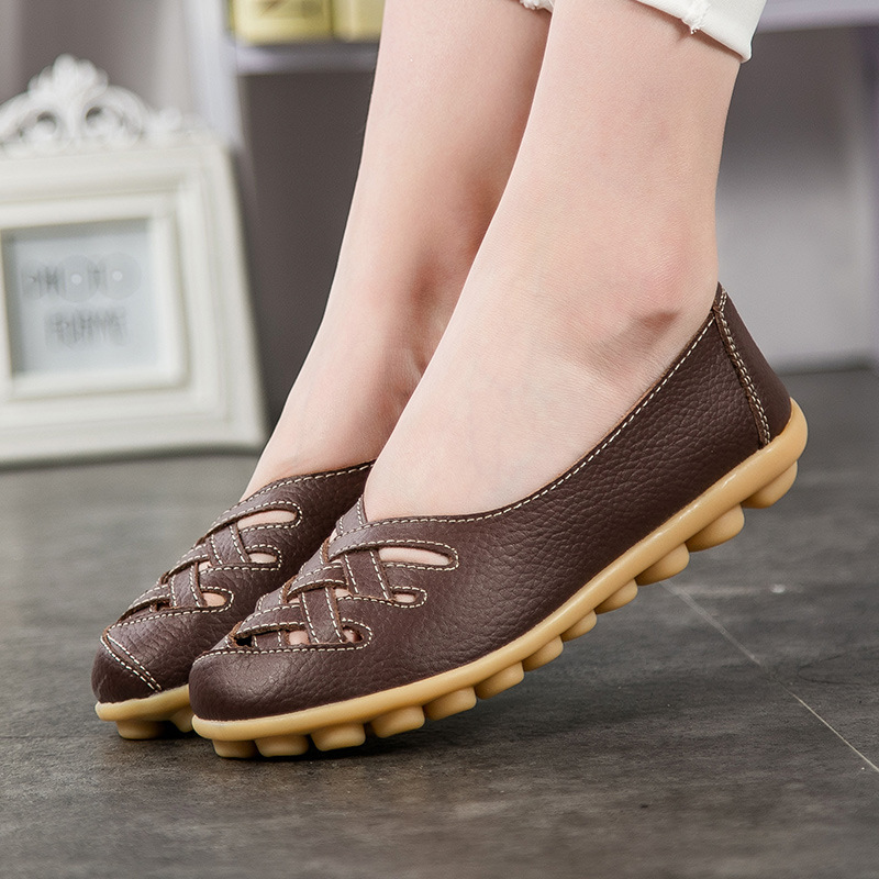 Women sandals 2018 new fashion summer genuine leather hollow out flats shoes woman sandals plus size casual summer women shoes