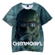 2019 verano nuevos niños divertido camiseta hombres 3D impreso gráfico Chernóbil Camiseta de manga corta niños/niñas Tops asiáticos tamaño de cuello redondo