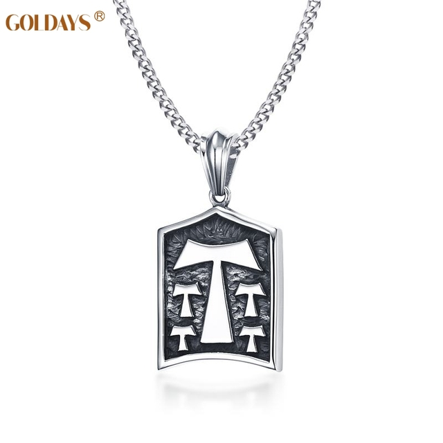 Goldays tau cross necklace men 24 chain high quality stainless goldays tau cross necklace men 24 chain high quality stainless steel cool necklaces for men mozeypictures Gallery