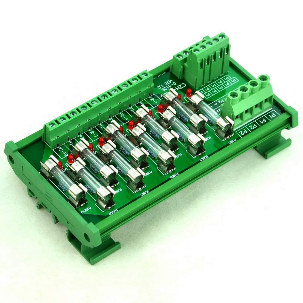 Electronics-Salon DIN Rail Mount 10 Position Power Distribution Fuse Module Board, AC/DC 5~48V.Electronics-Salon DIN Rail Mount 10 Position Power Distribution Fuse Module Board, AC/DC 5~48V.