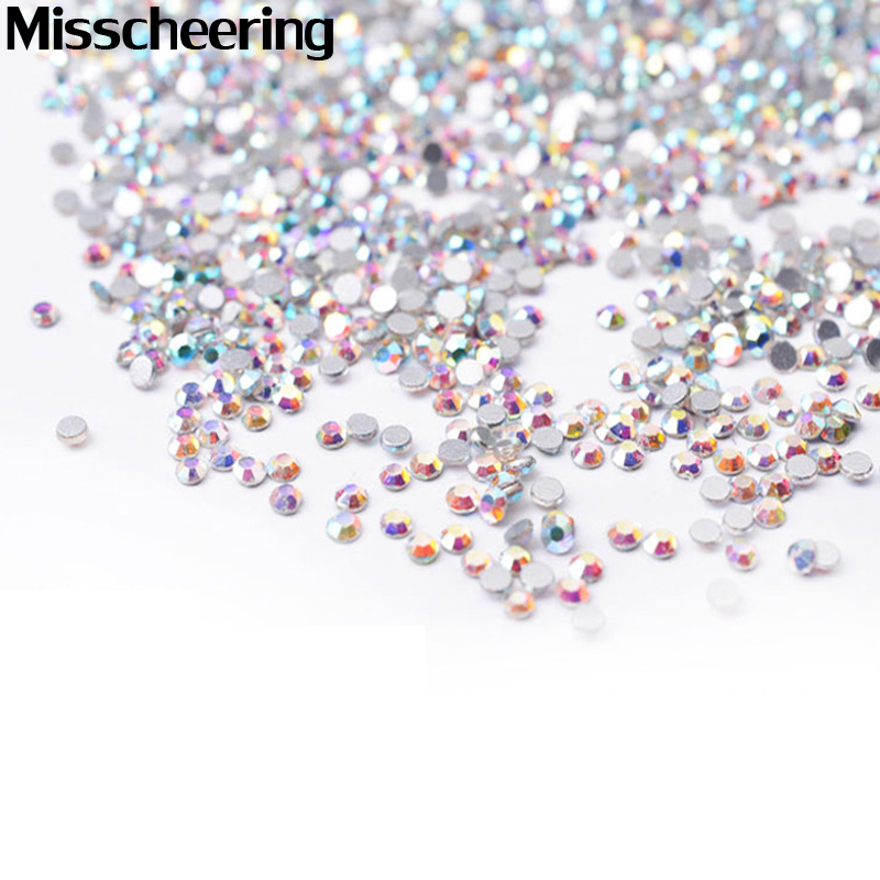 SS4 Crystal ab Nail Rhinestones, 1440pcs/lot Flat Back Non Hotfix Glitter Nail Stones, DIY 3d Nail Phones Decorations Supplies