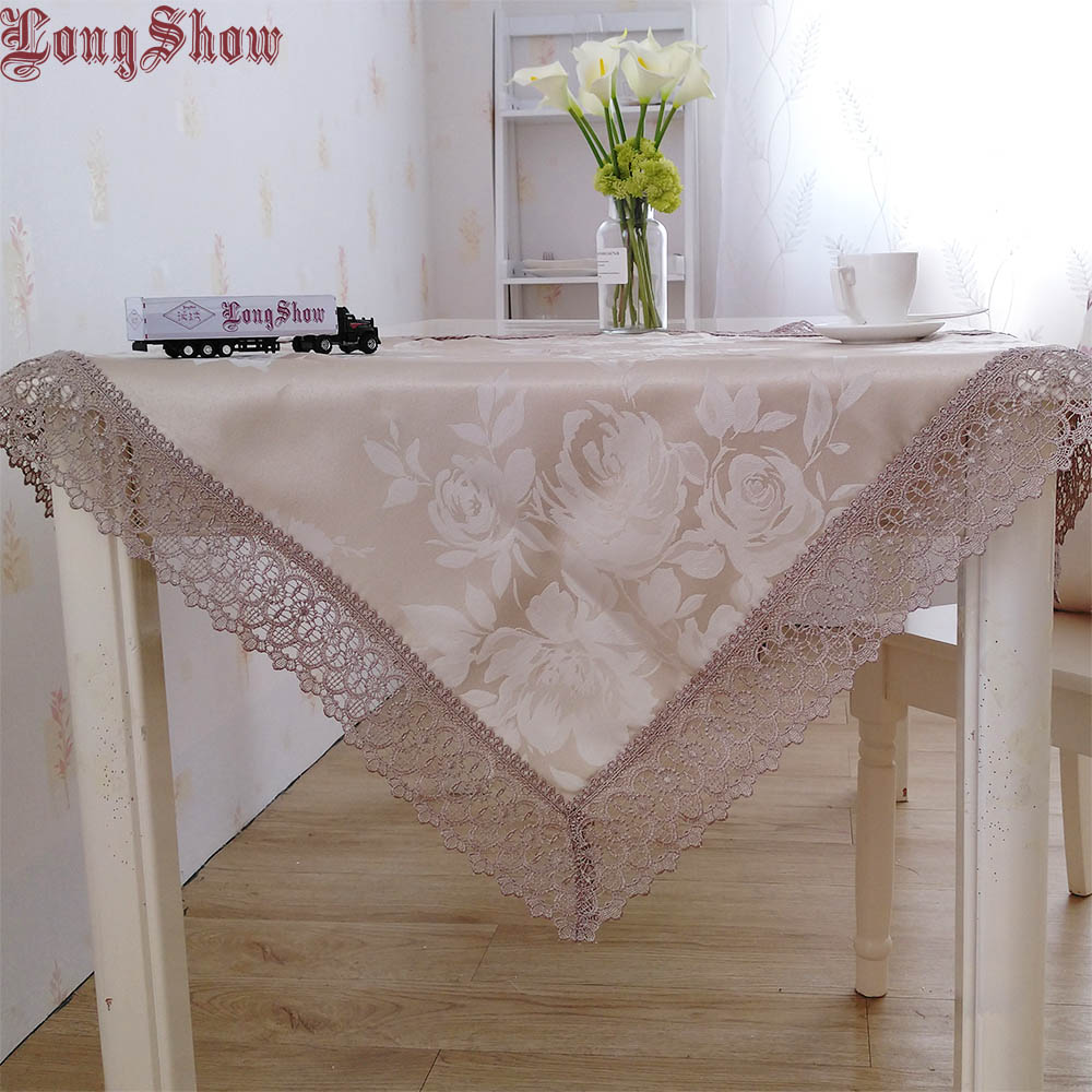 Elegant 130x180cm Rectangle Modern Style Jacquard Pure Taupe Grey Colour Table Cover For Dining Decoration