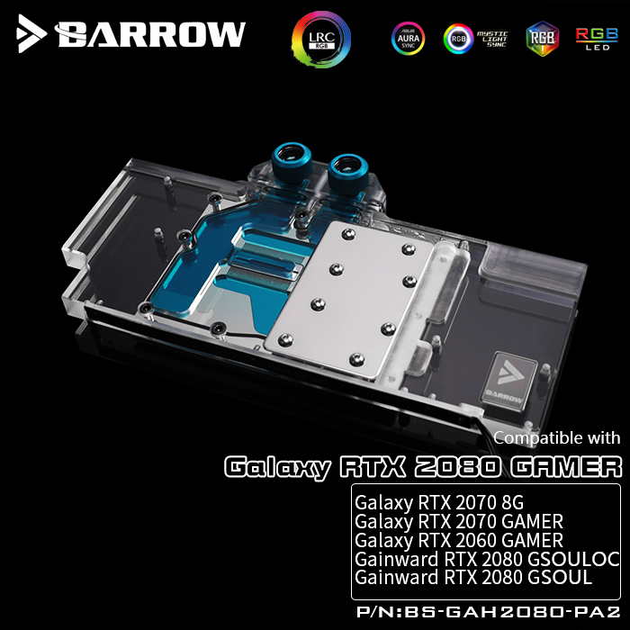 BARROW Water Block use for GALAXY RTX 2060/2070 GAGMER /GAINWARD 2070 8G/2080 OC / Support Original Backplate 5V 3PIN Header RGB-in Fans & Cooling from Computer & Office    1