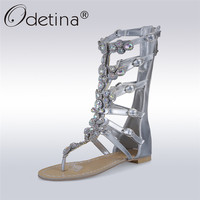 Odetina 2017 New Fashion Rhinestone Gladiator Sandals Crystal Women Flat Summer Mid Calf Boots Gold Silver