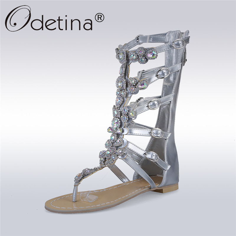 Odetina 2017 New Fashion Rhinestone Gladiator Sandals Crystal Women Flat Summer Mid-calf Boots Gold Silver Shoes Big Size 35-50 new 2016 women rhinestone gladiator sandals summer flat casual shoes beach slippers size 35 39