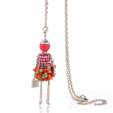 latest design trendy women's necklaces with pendants fashion hip hop jewelry beautiful & sweet girls doll necklaces high quality