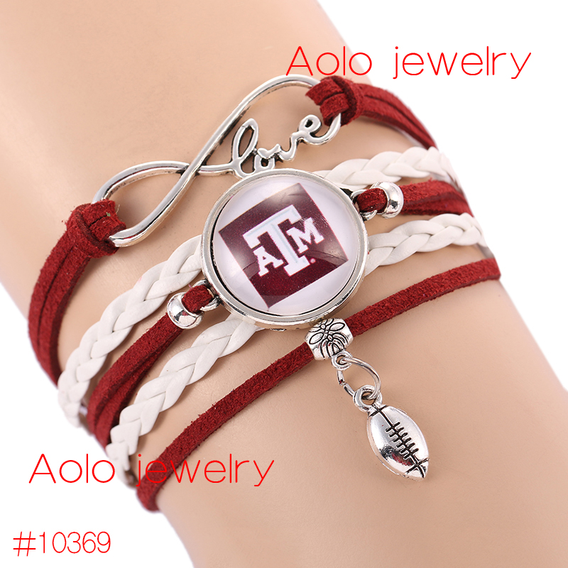 6Pcs/Lot NCAAF Texas A&M Aggies Glass Cabochons Bracelet College Football Team Bracelet New Infinity Bracelet Drop Shipping!