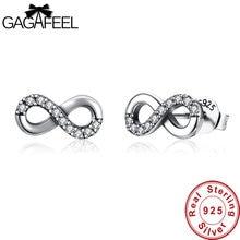 08c9522d118d GAGAFEEL alta calidad 925 Plata de Ley infinito amor pendientes claro CZ  nudo pendiente para mujeres boda joyería fina