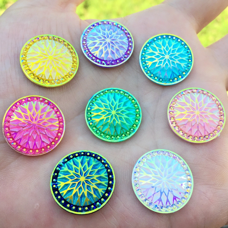 20pcs COLOR CHOICE Shiny AB Flatback Resin Cabochon DIY Decorative Craft Scrapbooking 20mm -E07