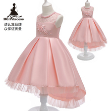 Free Shipping  Hot Sales Burgundy Children Princess Dress 2019 New Arrival Satin Pink Dresses For Girl Party Kids Evening Gowns цена