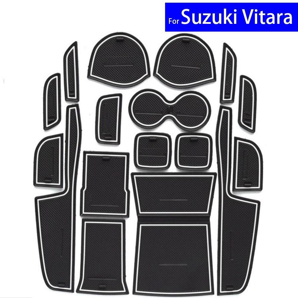 17 Pcs Car Door Gate Slot Mats Carpets Position Cup Holder Pads For Suzuki Vitara 2016