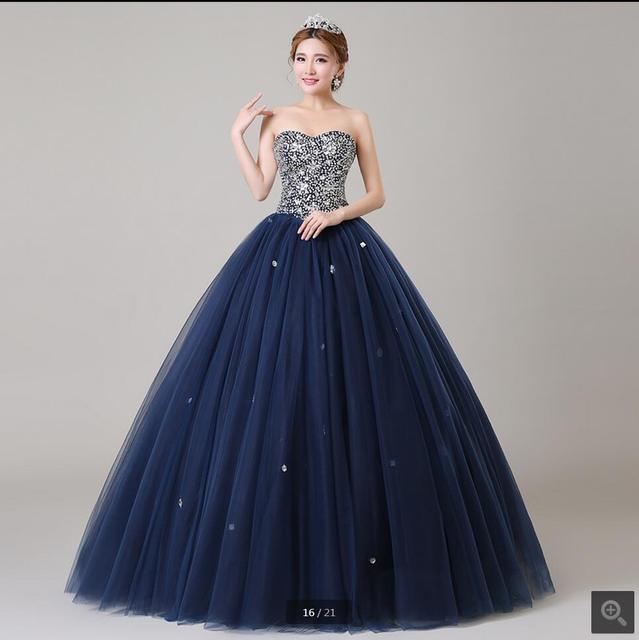 1c0140558 تصميم جديد الكرة ثوب الأزرق الداكن مطرز حمالة الحبيب الرقبة منتفخ فساتين  أفضل بيع أم العروس