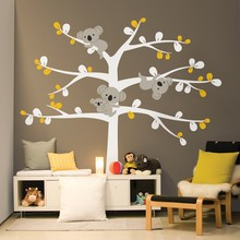 Cartoon Cute Koala Tree Wall Stickers For Kids Nursery Room Wall Decal Removable Artistic Design Wallpaper