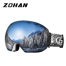 цена на Ski Goggles Double Layers UV400 Anti-fog Big spherical Ski Eyewear mirror Mask Glasses Skiing Men Women Snow Snowboard Goggles