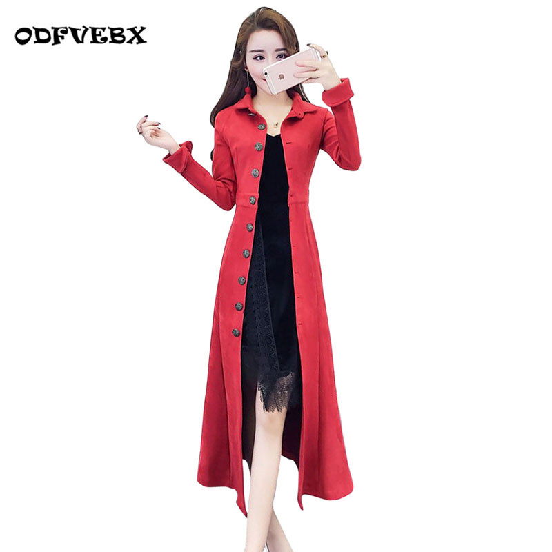 Boutique spring new women windbreaker temperament lapel single-breasted deerskin coat Slim was thin long   trench   coat ODFVEBX