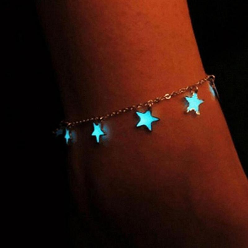 2017 New Year Luminous Ladies Beach Winds Blue Pentagon Star Tassel Anklet Silver Chain Anklets For Women Barefoot Sandals