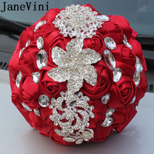 JaneVini Satin Ribbon Bunga Kristal Wedding Bouquets Luxury Berlian Berlian Imitasi Bridal Bouquet Buatan Merah Bros Kustom(China)