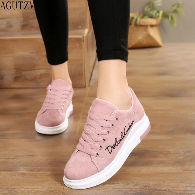 AGUTZM 2018 Spring New Designer Wedges Pink Platform Sneakers Women Vulcanize Shoes Tenis Feminino Casual Female Shoes Woman 456