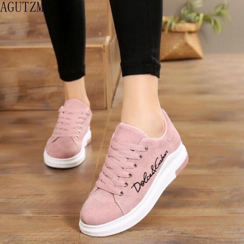 AGUTZM 2018 Spring New Designer Wedges Pink Platform Sneakers Women Vulcanize Shoes Tenis Feminino Casual Female Shoes Woman 456