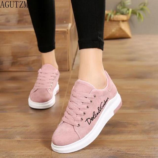 b40622dbf AGUTZM 2018 Primavera New Designer Cunhas Plataforma Rosa Vulcanize Sapatos  Tenis Feminino Sapatos Femininos Sapatos Casuais