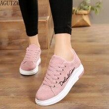 AGUTZM 2018 Spring New Designer Wedges Pink Platform Sneakers Women Vul