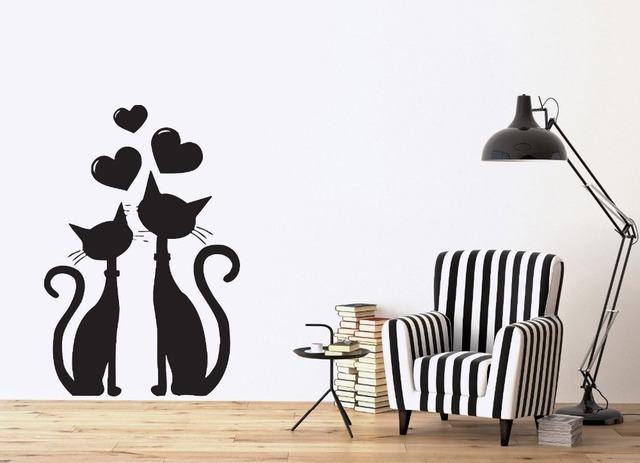 removable wall sticker cat couple in love heart in march spring