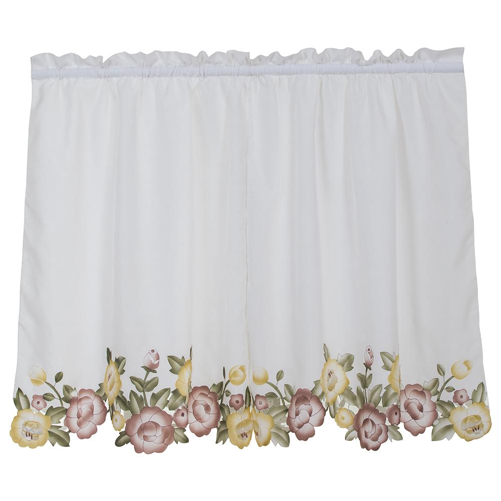 blanco applique tiers cortinas de la ventana para la cocina dormitorio pantallas de caf decorativos