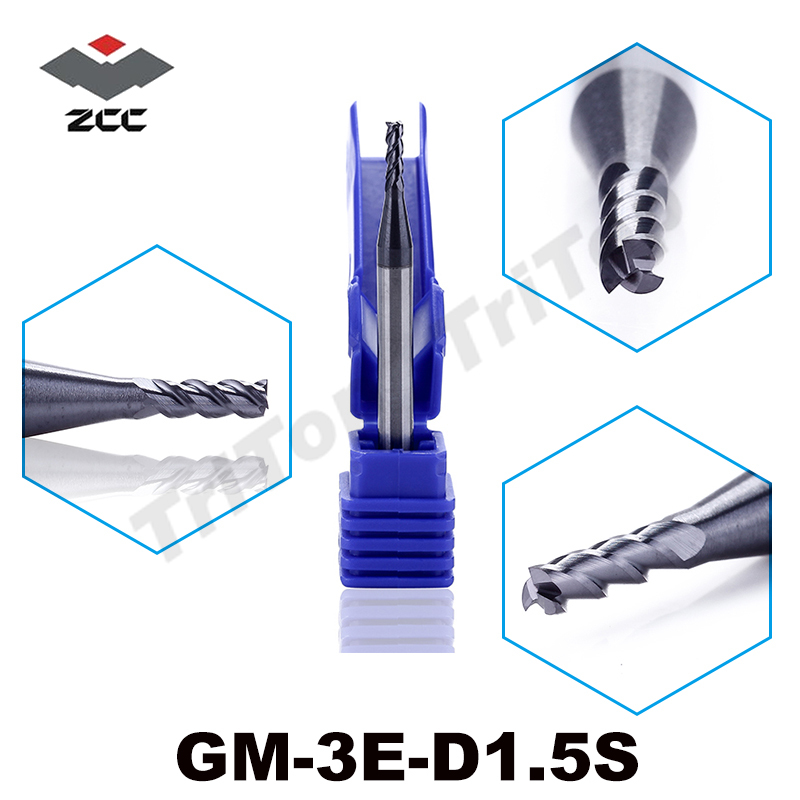 5pcs/lot free shipping ZCC.CT GM-3E-D1.5S 3 flute 1.5mm cutting head solid carbide endmill  cobalt alloy cnc milling cutters free shipping of 1pc hss 6542 full cnc grinded machine straight flute thin pitch tap m37 for processing steel aluminum workpiece