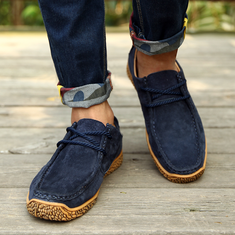 ФОТО 2017 New Arrival Mens Derby Shoes Suede Shoes Business Casual Shoes Height Increased Lace-Up Flats Suede Soft Outsole