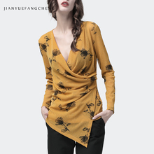 Long Women Blouse Yellow Mesh Floral Blouses Crossed V Neck Elastic Long Sleeve Tops New 2019 Early Autumn Sexy Slim Lady Blusa pink random floral print crossed front v neck flared sleeves blouses