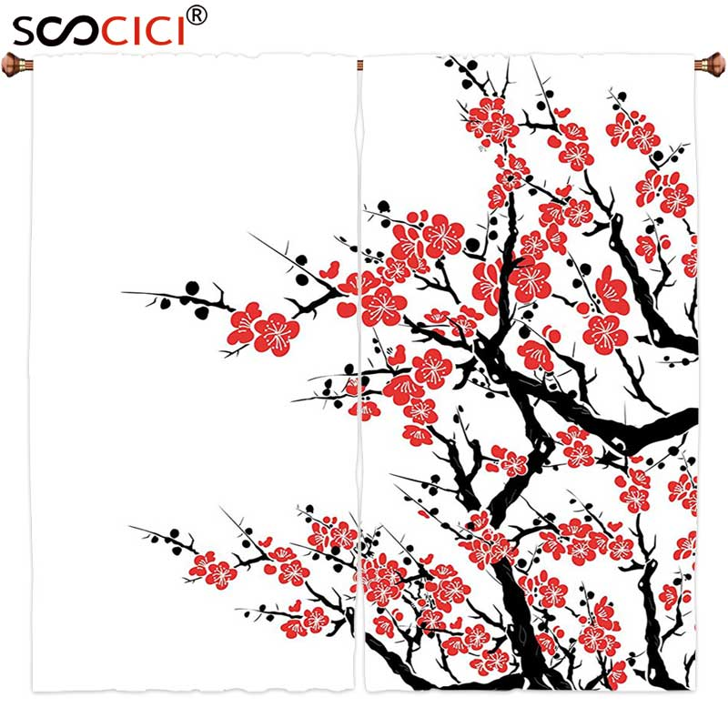 Window Curtains Treatments 2 Panels,Asian Decor Collection Plum Tree Blossoms Japanese Spring Traditional Festival Seasonal