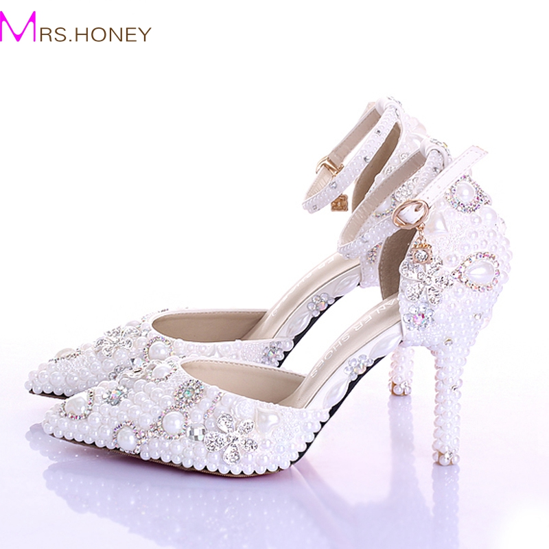 ФОТО Fashion Handmade White Pearl Wedding Shoes Pointed Toe  Ankle Strap Bridal Dresses Shoes Women Party Prom Shoes Rhinestone Pumps