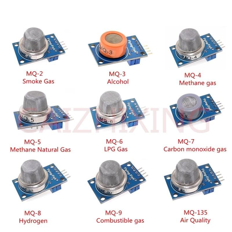 9 PCS/1 Lote Módulo Sensor de Detecção de Gás MQ-2 MQ-3 MQ-4 MQ-5 MQ-6 MQ-7 MQ-8 MQ-9 MQ-135 Módulo Sensor Starter Kit de Sensor de gás