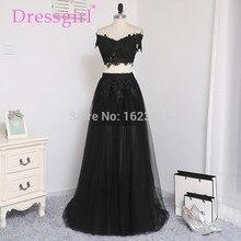 Dressgirl Zwei Stücke 2017 Prom Kleider A-line V-ausschnitt Cap Sleeves Schwarz Appliques Spitze Abendkleid Abendkleider Abendkleid