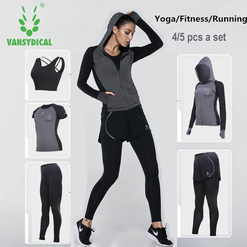 Vansydical Sports suit women Yoga Sets Women's tracksuit Fitness Sportswear Training Running Set GYM Quick Dry Tracksuits fitness running sports shirt women yoga sets two pieces breathable suit compression high quality quick drying gym sports suits