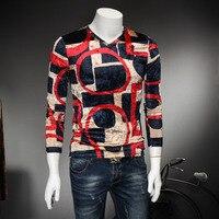 2017 Autumn Men T Shirts Quality Slim Fit Long Sleeve Mens Casual T Shirt Luxury V