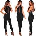 2016 лето sexy women новый боди женщины комбинезон bodycon спинки длинные брюки рукавов холтер женщин комбинезон черный тонкий сетки