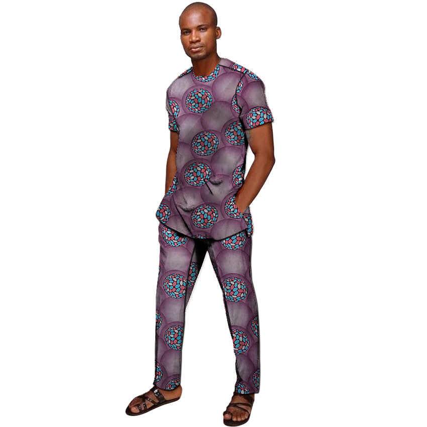 Camisas de manga corta con estampado africano para hombre, conjuntos de pantalones a la moda, Tops Dashiki + Pantalones, trajes personalizados para hombres para reuniones africanas