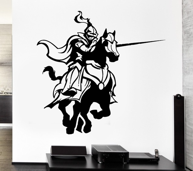 Free Shipping Medieval Knights Fighting Game Horse Stickers Living Room Wall Decals Home Decorative Arts