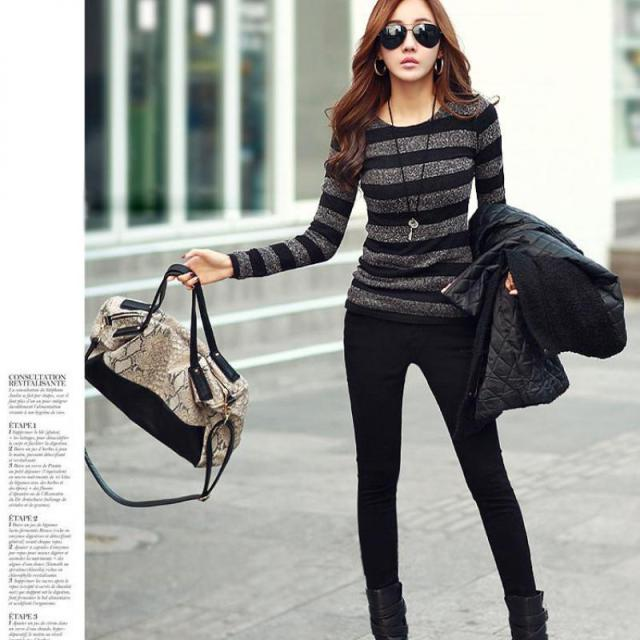 2017 Winter Women Sweater Fashion Stripe Black White Print O-neck Knitted Pullover Female Clothes S-xxl 4