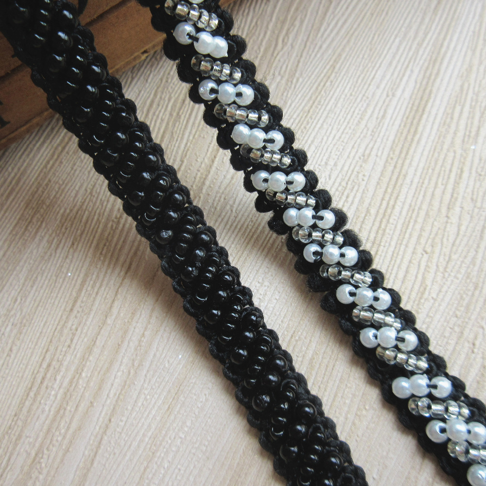 2 Meters Black Beads Pearl Lace Trim Ribbon Embroidered Appliques Sewing Craft