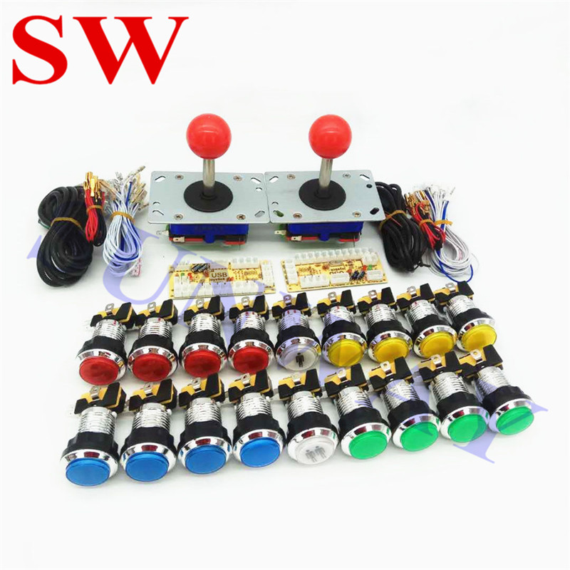 Two Players Arcade DIY Kits Parts USB Encoder to PC Zippyy Joystick + CHROME LED Lamp Lights Push Buttons+2PCS USB contoller