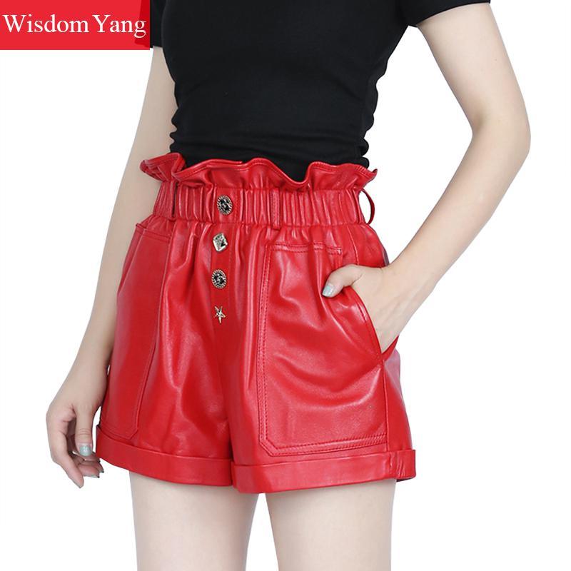 Autumn Wide Leg Real Sheep Skin Genuine Leather Shorts Women High Waist Biker Shorts Black Red Sexy Party Short Ruffles Trousers